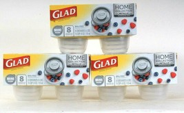 3 Packs Glad Home Collection Metallic Look 8 Ct BPA Free 4 Oz Containers... - $24.99