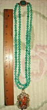 """1950'S KNOTTED 20"""" 22"""" JADEITE GLASS EASTER EGG PENDANT NECKLACE FANCY C... - $497.99"""