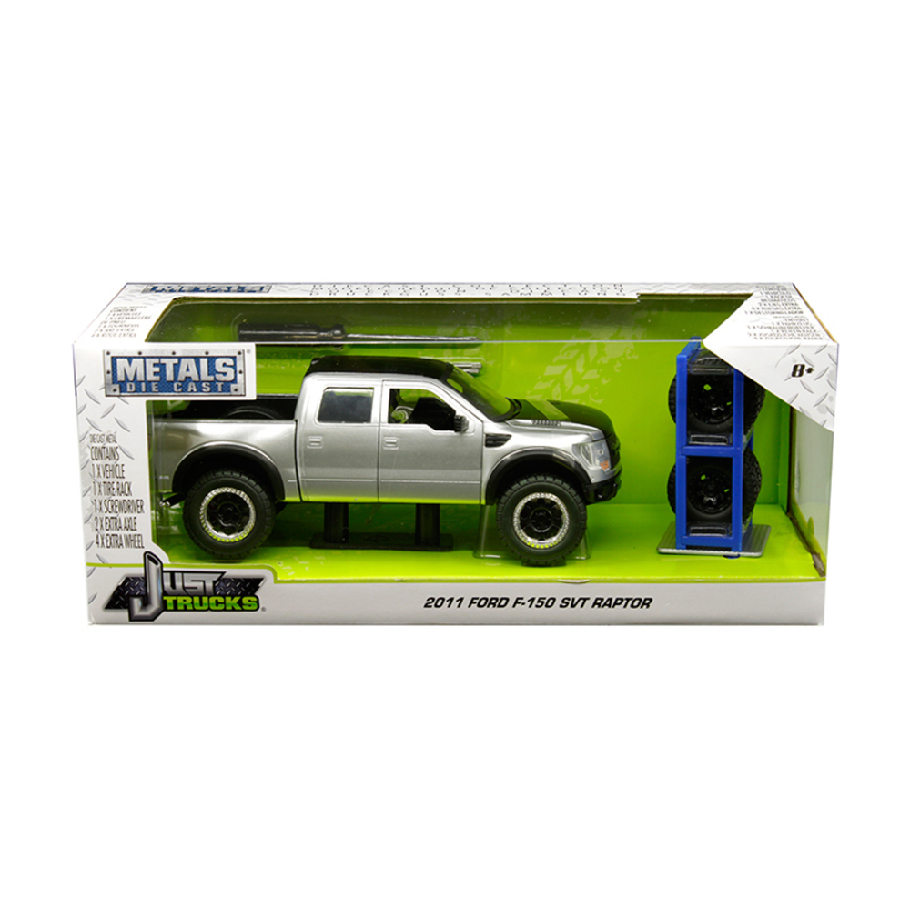 2011 Ford F-150 SVT Raptor Pickup Truck Silver with Matte Black Top and Extra Wh
