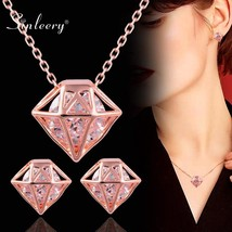 SINLEERY Trendy Gem Shaped Cubic Zircon Necklace Earring Set Rose Gold S... - $21.23