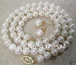 New Arrival 8mm White Shell Pearl Beads Necklace Earring Set Manual Tie ... - $21.43