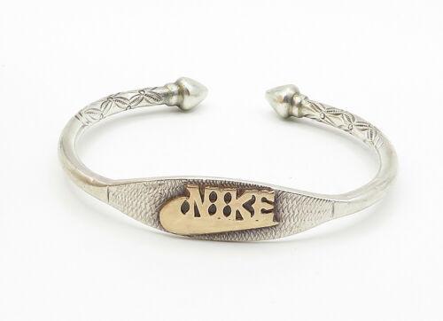 925 Silver & 14K GOLD - Vintage Floral Detail Pointed Cuff Bracelet - B6217 image 2