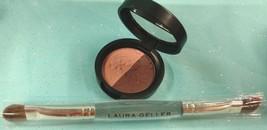 Set/2 Laura Geller Baked Im Pres Sions Eye Shadow Liner Duo Fine Wines + Brush - $18.78
