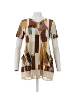 LOGO Lori Goldstein Printed Top Pockets Color-Block Hem Neutral S NEW A2... - $33.64