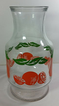Anchor Hocking Orange Carafe 9in Vintage Glass Pitcher Juice Fruit Graph... - $9.99