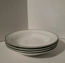 """Set of 4 Gibson 8"""" shallow bowls - white with silver trim - read description - $9.50"""