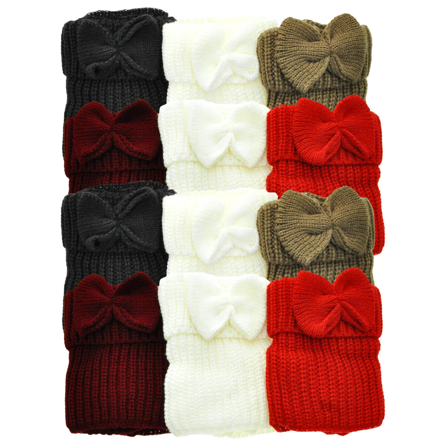 Case of [48] Angelina Knitted Boot Toppers - Bow Tie Accent