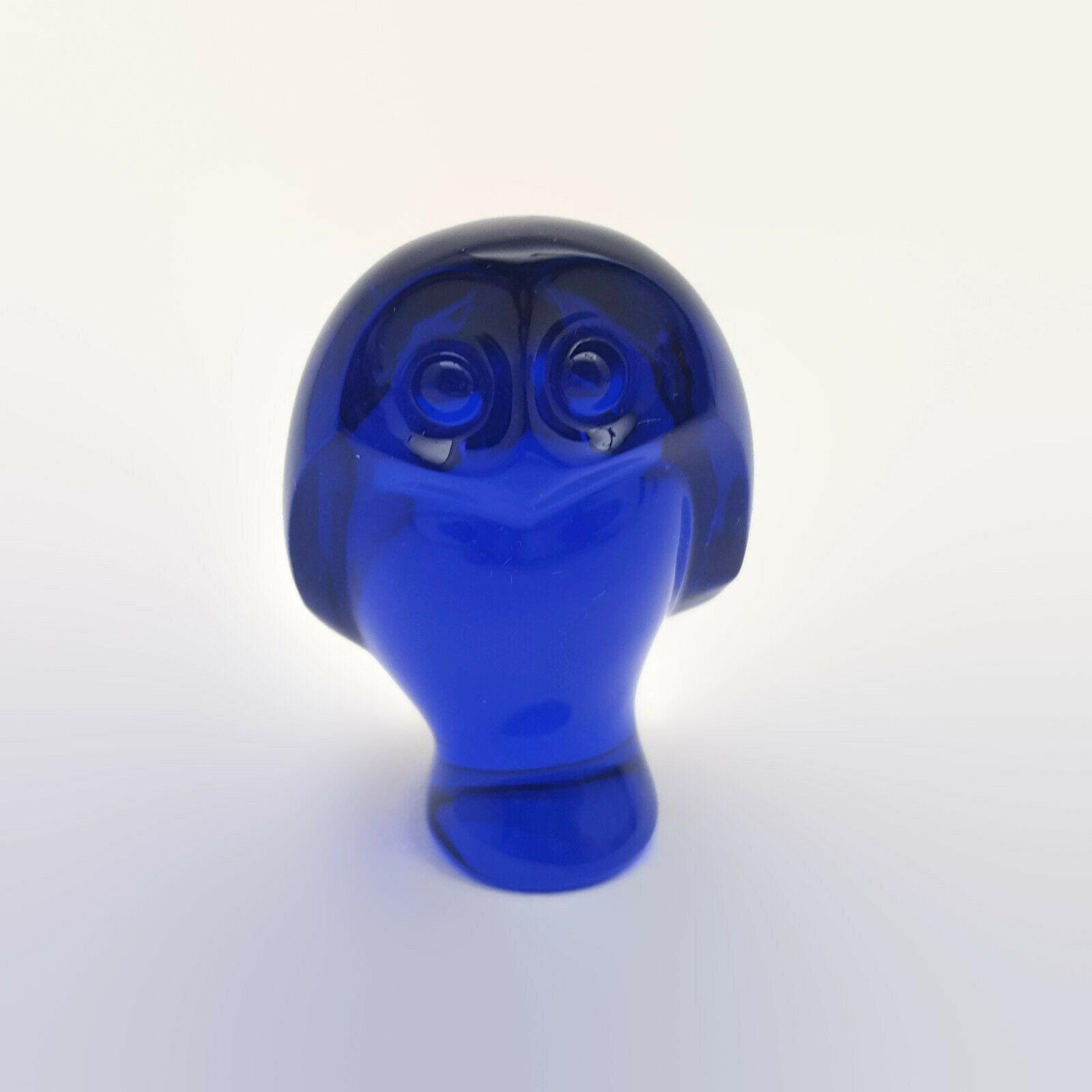 Baccarat Cobalt Blue Crystal Owl Figurine