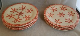 "7 Gibson Snowflake 7 7/8"" Dessert Salad Plates with Red Pink Salmon Spon... - $32.47"