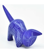 Vaneal Group Hand Carved Kisii Soapstone Dark Blue Pouncing Kitten Cat F... - $15.83