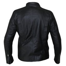 Mens Biker Skull Logo Embossed Black Motorcycle Synthetic Leather Jacket image 4