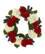 "21"" Geranium And Blue Berry Artificial Wreath, Nearly Natural 4324 - $74.59"