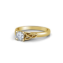 Round Cut Sim Diamond 14k Gold Plated 925 Silver Women's Solitaire Weddi... - $56.99