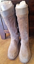 Women's Suede Hush Puppies Flat Knee Casual Boots Taupe SZ 5.5 - $24.99