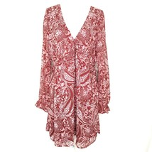 Forever 21 Womens XL Short Dress V Neck Long Sleeves Rust Pink Paisley L... - $22.76