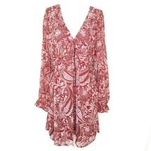 Forever 21 Womens XL Short Dress V Neck Long Sleeves Rust Pink Paisley L... - $22.76