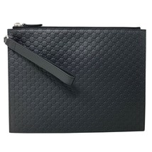 New Gucci Black Leather Micro GG Guccissima Clutch Wristlet Bag Wallet C... - $737.43