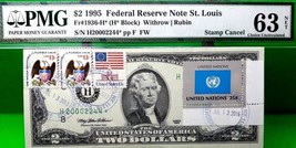 MONEY US $2 DOLLARS STAR NOTE ST LOUIS 1995 STAMP CANCEL FLAG OF UNITED ... - $2,700.00