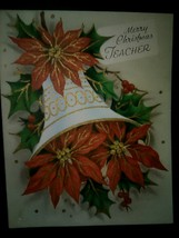 Beautiful Bell Red Poinsettias Vintage Christmas Card BOGO Sale  - £4.98 GBP