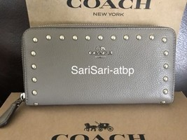 Coach F23505 Accordion Zip Wallet Lacquer Rivets Studs Fog Leather New N... - $275.56