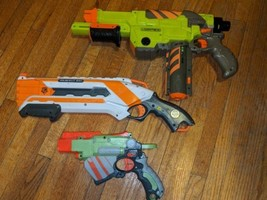 Nerf Gun Lot Proton-Roughcut-Vortex Lumitron w/ discs  - $29.70