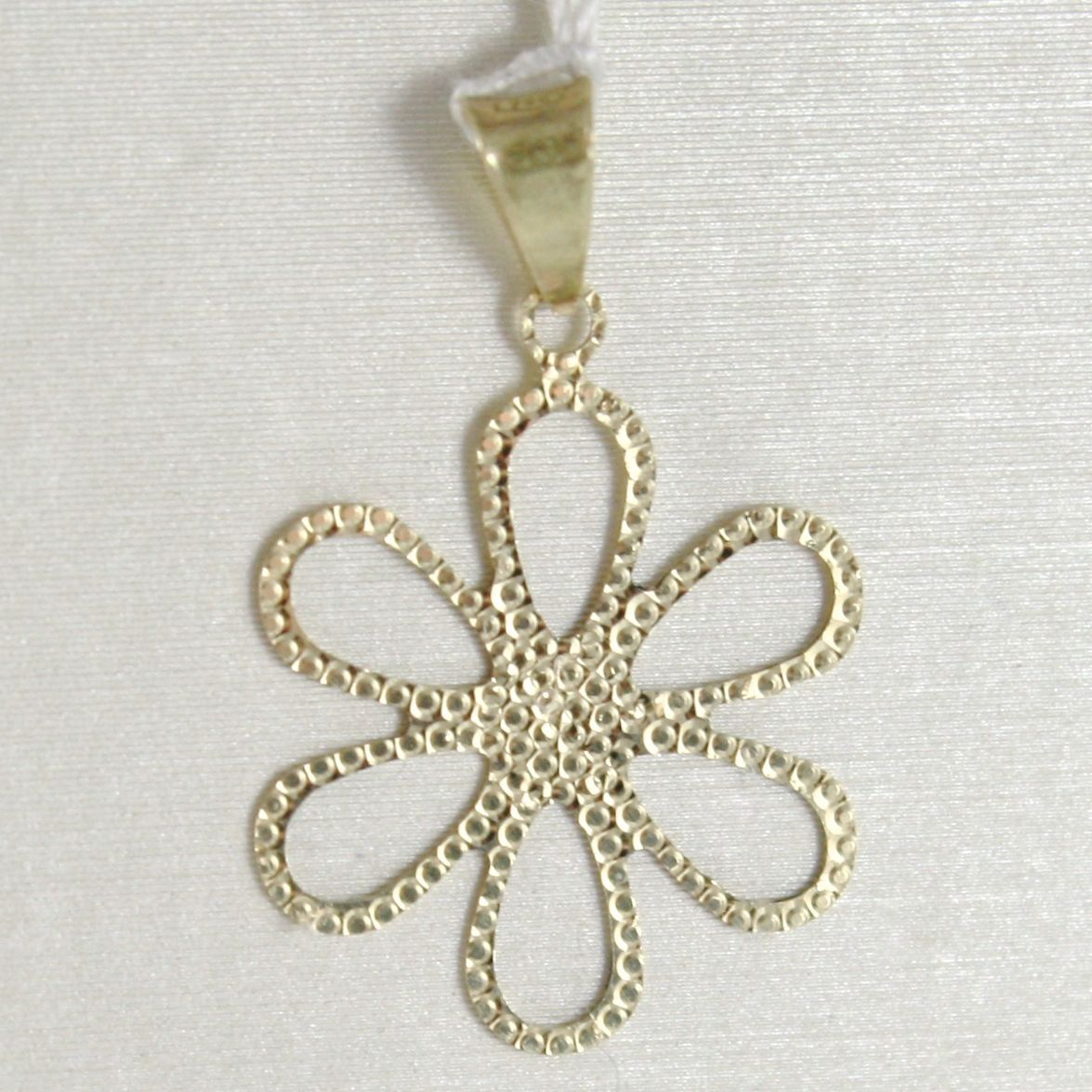YELLOW GOLD PENDANT 750 18K DAISY FLOWER PENDANT MILLED LONG 2.2 CM