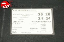 70 Camaro SS Tire Pressure Decal F60x14 Tires GM # GQ 3991344 - $999.99