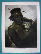 AFRICA Abyssinian Girl & Chimpanzee by Piglhein - COLOR VICTORIAN Era Print - $13.05