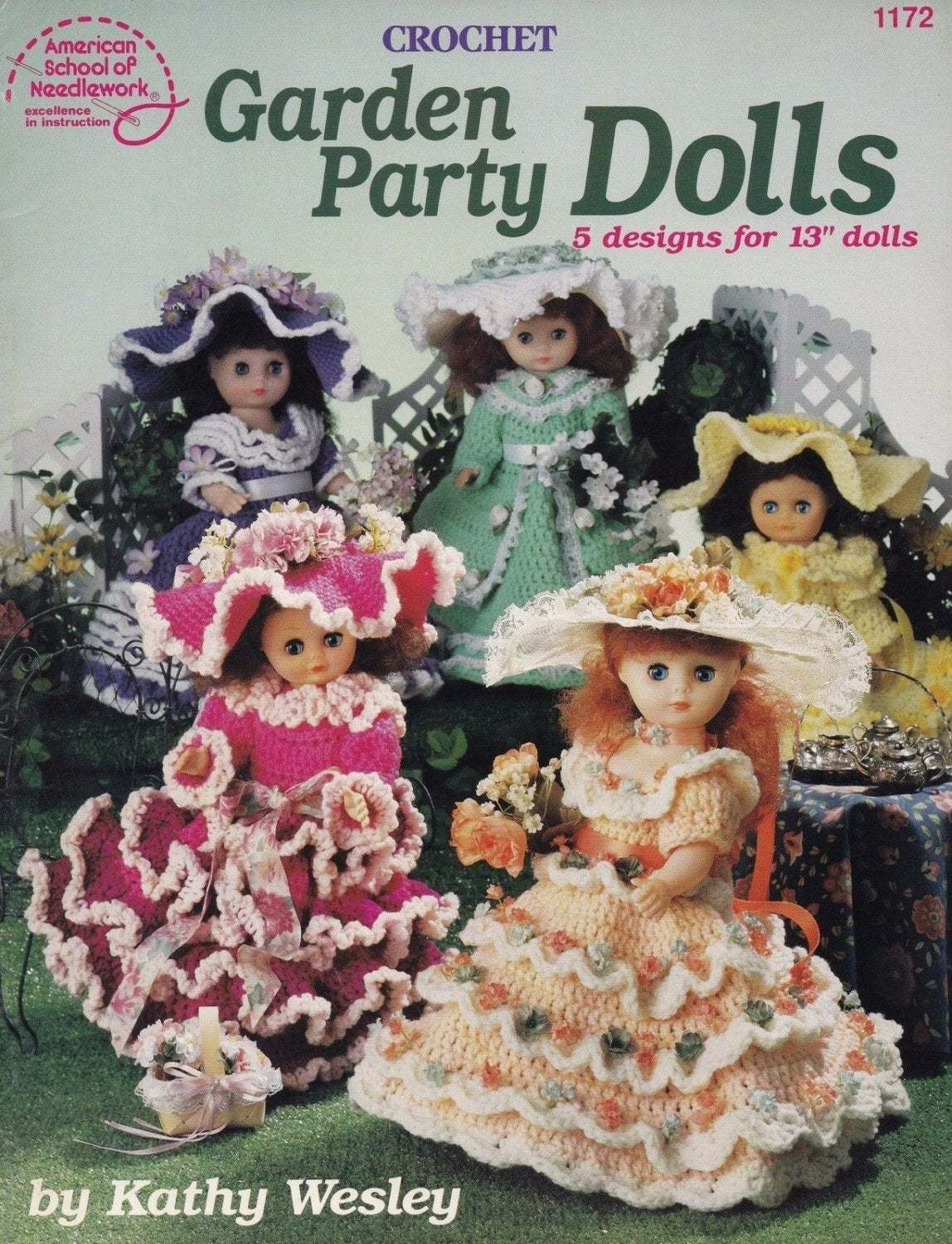 Primary image for Garden Party Dolls, American School Needlework Crochet Doll Clothes Pattern 1172