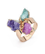 Dayoff European Unique Irregular Natural Stone Rings Women Drusy Druzy R... - $13.00