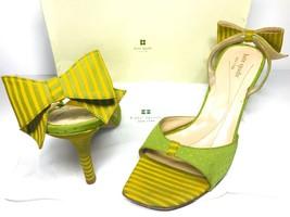 KATE SPADE It Girl Sling back mule High heels Women's 8.5 M Green Yellow Bow Dot - $105.52
