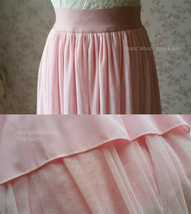 Floor Length Pink Tulle Skirt Pink Bridesmaid Tulle Skirt Plus Size image 8