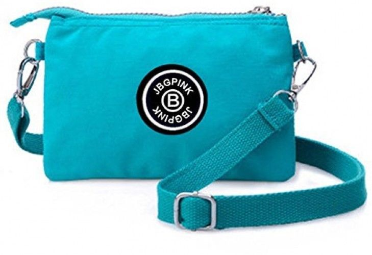 J-BgPink 3 Layer Zipper Nylon Wallets For Women Wristlet Bag Purse Waterproof