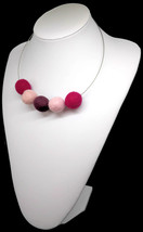 Floating choker necklace on invisible wire with felt balls in red and pa... - $18.00