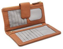 NWT Fossil Ella Medium Brown Pebble Leather Zip Clutch Wallet SWL1638210 - $38.99