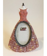 Picture Frame Party Dress Oval 2 X 3 Photo Pink Resin Desk Table Stand M... - $25.00