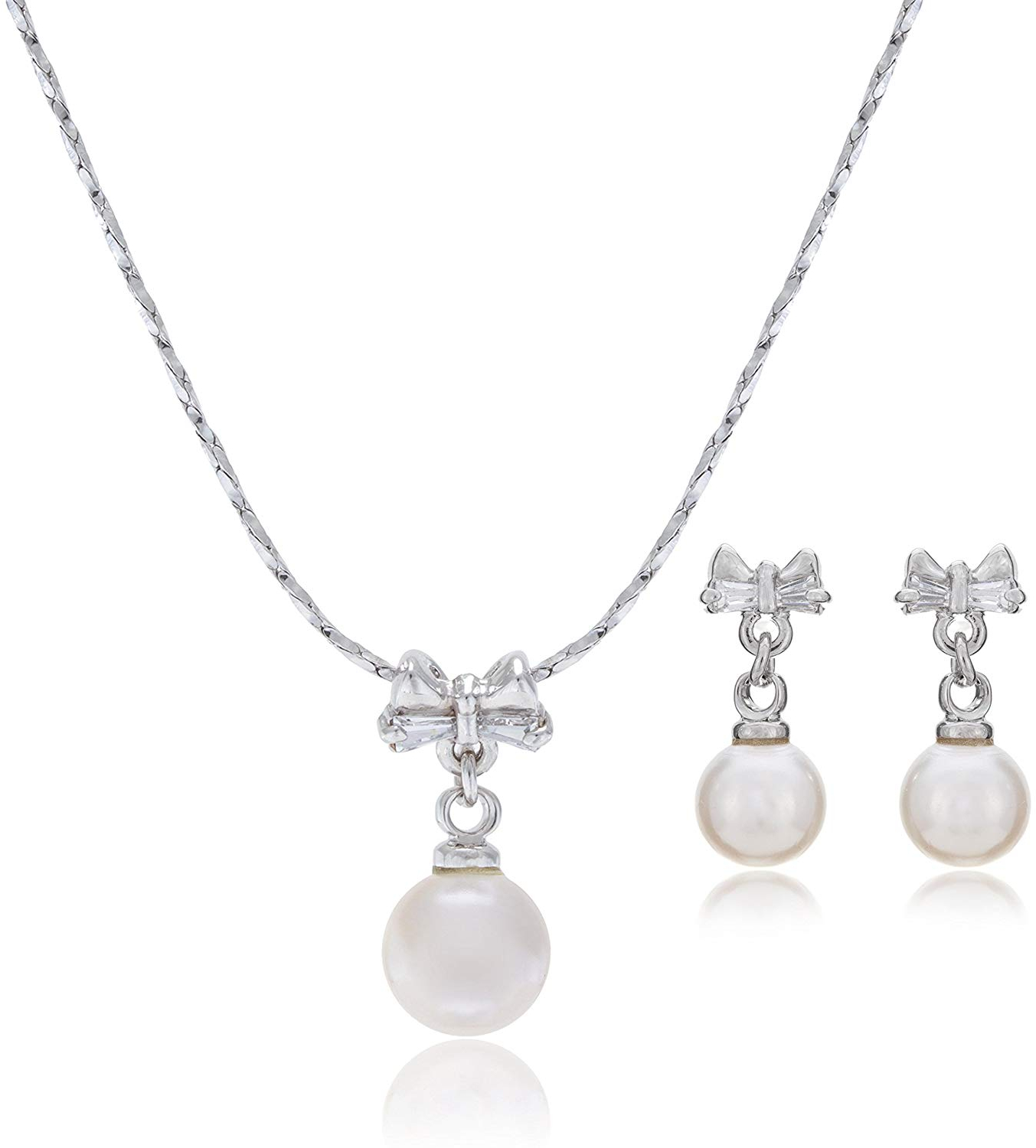 LAURA and ALEXANDER Sweet sixteen Bow and Simulated Pearl Necklace and Earring S
