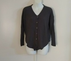 Style & Co Women's 3/4 Sleeve Button-Up New Graphite Gray Top Size PS - $32.52
