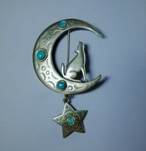 JJ Vintage Pewter Brooch Pin Howling at the Moon 1988 EUC  - $17.99