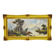 Antique Gold Gilt Framed Landscape Mixed Media Pastel Drawing - $495.00