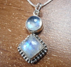 Moonstone Silver Dot Accents 925 Sterling Silver Pendant Corona Sun Jewelry - $12.86