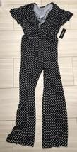 Bebe Black Polka Dot Jumpsuit Size 12 New NWT Deep V Ruffle Romper - $54.45