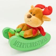 Christmas Rocking Animated Reindeer on Sleigh Plush SEE VIDEO Lights Pla... - $29.95