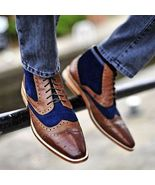 Men Two Tone Brown Blue Suede Full Brogue Toe Wing Tip High Ankle Leathe... - $129.90+
