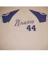 Atlanta Braves Hank Aaron 44 MLB NL Blue White Adult Promotion Vintage J... - $69.29