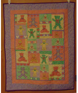 Baby Little Bear Quilt or Blanket, Child's Wall Hanging Quilt, Crib Blanket - $42.00