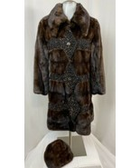 Mink and Persian Curly Lamb Wool Mid-Length Coat w/ Hat, Fits Women's XS, Rare! - $3,134.99
