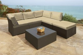 Northcape 6-Pc Beige Wicker Outdoor Furniture Sectional Sofa Table Ottom... - £1,176.29 GBP