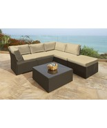Northcape 6-Pc Beige Wicker Outdoor Furniture Sectional Sofa Table Ottom... - $1,488.70