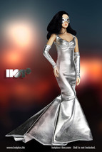 1/6 Scale Phicen, Hot Toys, Hot Plus - Sexy Female Silver Shimmering Gown w Mask - $31.19